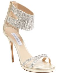 Monique Lhuillier - Embellished Metallic Leather Ankle-wrap Sandal - Lyst