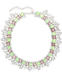 Sparkling Sage - Plated Crystal & Resin Statement Necklace - Lyst