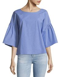 Vince Camuto - Pinstripe Bell-sleeve Top - Lyst