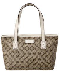 Gucci - Brown GG Supreme Canvas & White Leather Tote - Lyst