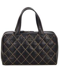 Chanel - Black Leather Surpique Handbag - Lyst
