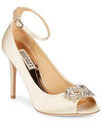 Badgley Mischka - Kali Satin Ankle-strap Court Shoes - Lyst
