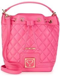 Love Moschino - Quilted Faux Leather Bucket Bag - Lyst