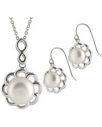 Splendid - Rhodium Plated 9-11mm Pearl & Cz Necklace & Earrings Set - Lyst