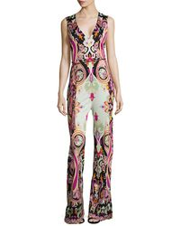Etro - Silk Printed V-neck Jumpsuit - Lyst