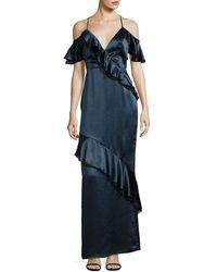ABS By Allen Schwartz - Abs Cold-shoulder Ruffle Gown - Lyst
