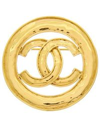 Chanel - Gold-tone Cc Circle Pin - Lyst