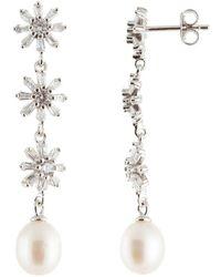 Splendid - Splendid Pearl Silver 7.5-8mm Freshwater Pearl & Cz Earrings - Lyst