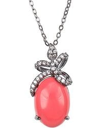 CZ by Kenneth Jay Lane - Plated Coral Bow Necklace - Lyst