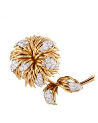 Heritage Van Cleef & Arpels - Van Cleef & Arpels 18k Two-tone 4.30 Ct. Tw. Diamond Brooch - Lyst