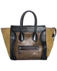 e01c92d1b046 Céline - Brown   Black Leather Mini Colorblocked Luggage Tote - Lyst