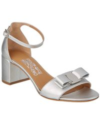 Ferragamo - Gavina Metallic Leather Ankle Strap Sandal - Lyst