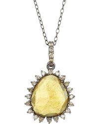 Adornia - Fine Jewellery Rhodium Plated Silver 5.50 Ct. Tw. Diamond & Yellow Tourmaline Necklace - Lyst