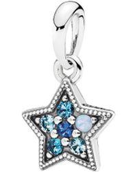 PANDORA - Silver & Multi- Color Crystal Star Pendant - Lyst