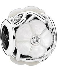 PANDORA - Luminous Florals Silver Mother-of-pearl & Cz Charm - Lyst