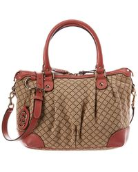 f53096bfb92 Gucci - Beige Diamante Canvas   Pink Leather Sukey Satchel - Lyst