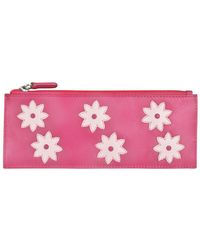 ILI - Leather Flower Power Card Holder W/ Zip Pocket - Lyst
