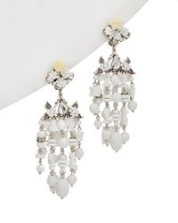 DANNIJO - Woman Silver-tone, Crystal, Bead And Resin Earrings White - Lyst