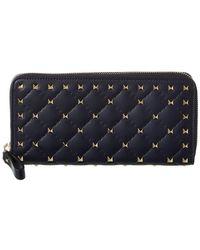 Valentino - Rockstud Spike Leather Zip Around Wallet - Lyst