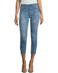7 For All Mankind - 7 For All Mankind Lasered Rose Printed Cropped Skinny Jeans - Lyst