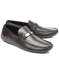 22a62684cc2 Lyst - Versace Leather Penny Loafers in Brown for Men