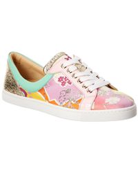 Christian Louboutin - Flamingirl Printed Leather & Patent Sneaker - Lyst
