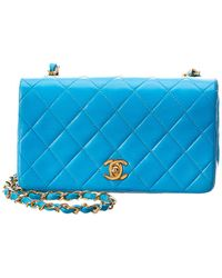 430fe6ee7f1c Chanel - Blue Quilted Lambskin Leather Mini Single Full Flap Bag - Lyst