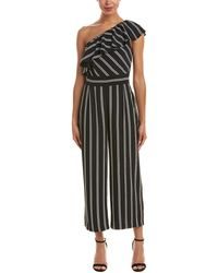 Laundry by Shelli Segal - One Shoulder Stripe Jumpsuit With Pockets (black) Women's Jumpsuit & Rompers One Piece - Lyst