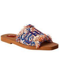 Chloé - Blue Woody Logo Embroidered Tapestry Cotton Blend Slides - Lyst