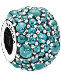PANDORA - Silver & Teal Cz Shimmering Droplet Charm - Lyst