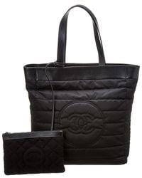 Chanel - Black Nylon Cc Tote - Lyst