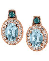 Le Vian - ® Exotics® 14k Rose Gold 1.47 Ct. Tw. Diamond & Aquamarine Earrings - Lyst