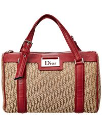 Dior - Christian Brown Trotter Canvas & Red Leather Small Shoulder Bag - Lyst