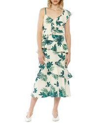 Walter Baker - Palm Printed One-shoulder Ruffle Dress - Lyst