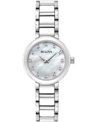 Bulova - Women's Diamond Accent White Ceramic And Stainless Steel Bracelet Watch 30mm 98p158 - Lyst