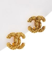 Chanel - Gold-tone Florentine Cc Clip-on Earrings - Lyst