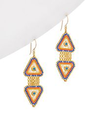 Miguel Ases - 18k Plated Crystal Beaded Triangle Earrings - Lyst