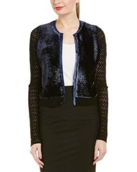 862805b22 Lyst - Elie Tahari Soho Leather-trimmed Reversible Cardigan in Black