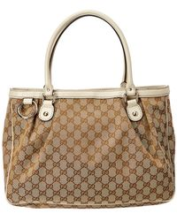 Gucci - Brown GG Canvas & White Leather Sukey Shoulder Bag - Lyst