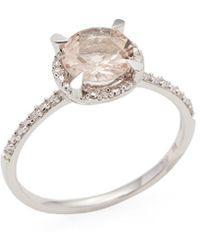 Rina Limor - Morganite Halo Ring - Lyst