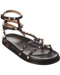 Valentino - Rockstud Gladiator Leather Sandal - Lyst