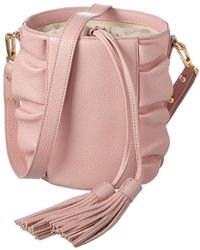 MILLY - Astor Ruffle Drawstring Leather Bucket Bag - Lyst