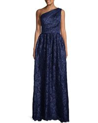 Carmen Marc Valvo - Infusion Lace Sequin Pleated Gown - Lyst