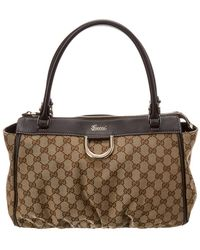 Gucci - Brown GG Supreme Canvas & Leather D-ring Tote - Lyst