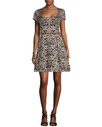 Marchesa notte - Belted Embroidered A-line Dress - Lyst