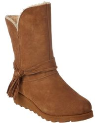 BEARPAW - Women's Tonya Savvy Slim Tread Wedge Neverwet Suede Boot - Lyst