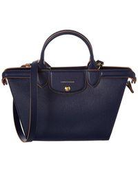 Longchamp - Le Pliage Heritage Medium Leather Top Handle Tote - Lyst