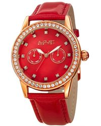 August Steiner - Women's Bling Leather Watch - Lyst