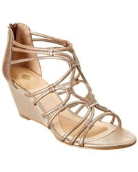 Isola - Floral Leather Wedge Sandal - Lyst