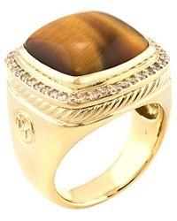 David Yurman - David Yurman Albion 18k 0.40 Ct. Tw. Diamond & Tiger's Eye Ring - Lyst